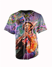 Real American Size jimi hendrix 3D Sublimation Print Custom made Button up baseball jersey plus size