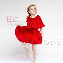 Fashion Robe Enfant Mariage Birthday Wedding Girl Spring dress Red Teenagers Ropa De Nina American Style Dresses For Girls