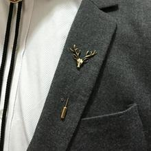 2017 new fashion brooch gold / silver simple deer head brooch women men set animal brooch wholesale sales