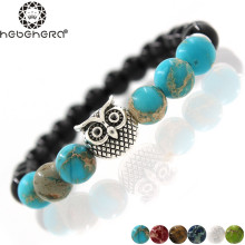 Silver & Golden Animal Owl Head Bracelet Men Beaded Black Matte Stone Bracelets Women Six Classic Color Fashion Antique Bracelet