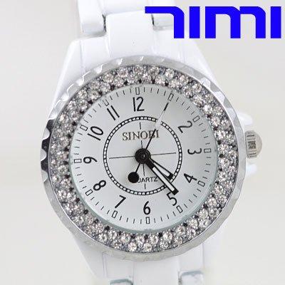 wholesale HOT White Gemstone Lady Women Steel Quartz Dress Watch<br><br>Aliexpress