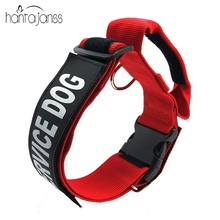HANTAJANSS Adjustable Padded Pet Dog Collar Service Dog Patch Nylon Dog Collar Durable Neck Collares for All Breeds Pet Products