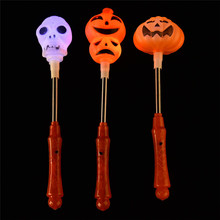 Halloween Glow Stick Kid's Shaker Toy With LED Light Pumpkin Skeleton Pattern Spring Stick Hallowmas Party Props Children Gift