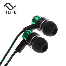 Fashion Earphone MP3/mp4 Roping Stereo 3.5mm Subwoofer In Ear Headset Earbud 1.1M Reflective Fiber Cloth Line Metal Earphone