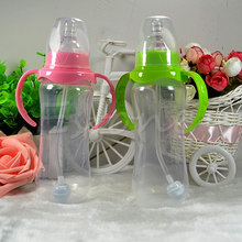 240ML Baby Cup Children Learn Drinking Straw Infant Milk Feeding Nipple Bottle Freeshipping(China)