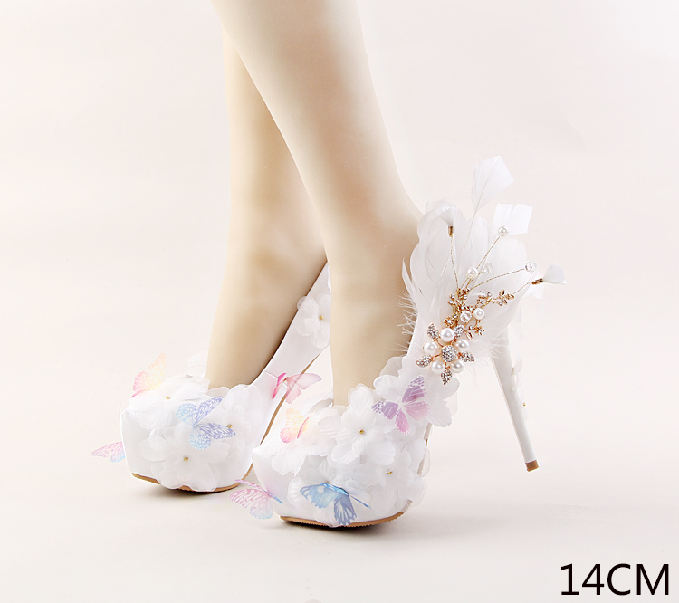 Genuine Bridal Shoesv White Butterfly Lace Flower Rhinestone Bride Shoes High heel 12-14cm Feather Dress Banquet Pumps Size 39<br><br>Aliexpress