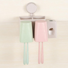 toothpaste dispenser toothbrush wall suction bathroom set sucker toothbrush holder suction hook family fashion wheat straw loves