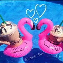 1PCS Lovely Pink Flamingo Floating Inflatable Drink Bottle Can Holder Swimming Beach Party Kid Toy