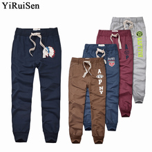 Wholesale YiRuiSen Brand 100% Cotton Lightweight Sweatpants For Men Patchwork Casual Long Sweat Pants Men Autumn Clothing(China)