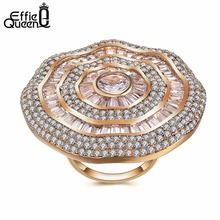 Effie Queen Luxury Big Natural Stone Ring Vintage Crystal Antique Rings For Women Gold Color Party Christmas Gift Hot DDR04(China)