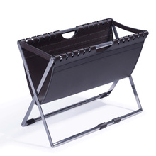 PU Leather Folding Magazine Rack