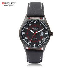 2014 New Zhuolei Men Quartz Watches Sports and Militar Watch Genuine Leather Watch Band Strap Watch Casual Wristwatch(China)