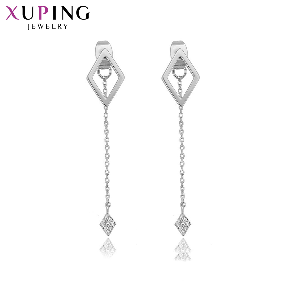 Xuping Fashion Romantic Plain Earrings Rhodium Plated Jewelry for Women Family Colorful Gift S138.8-94768