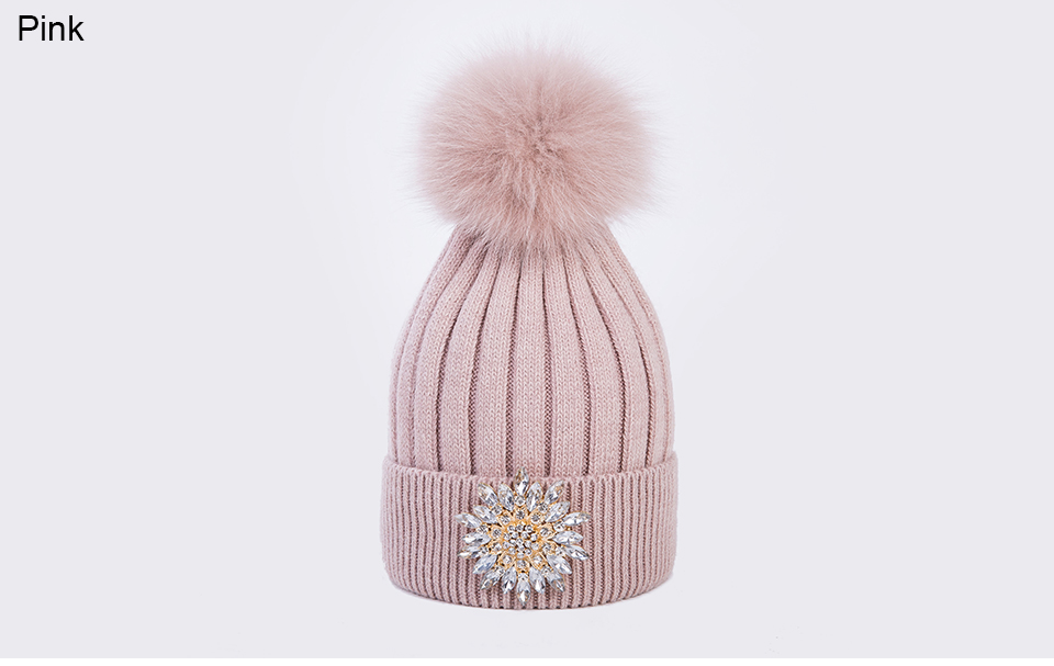 Ralferty Women's Real Fox Pompom Hat Knitted Rabbit Skullies Winter Hats For Women Big Flower Crystal Beanies Black Cap bonnet 12