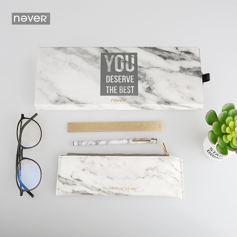 Never Marble Stationeries Set Metal Magnet Pen Pencil Bag Brass Ruler Gift Stationery For Girls Busines Office &amp; School Supplies<br>