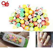 40Pcs/Pack Polymer Clay Nail Art Stickers Cane with Fruit and Flower Design