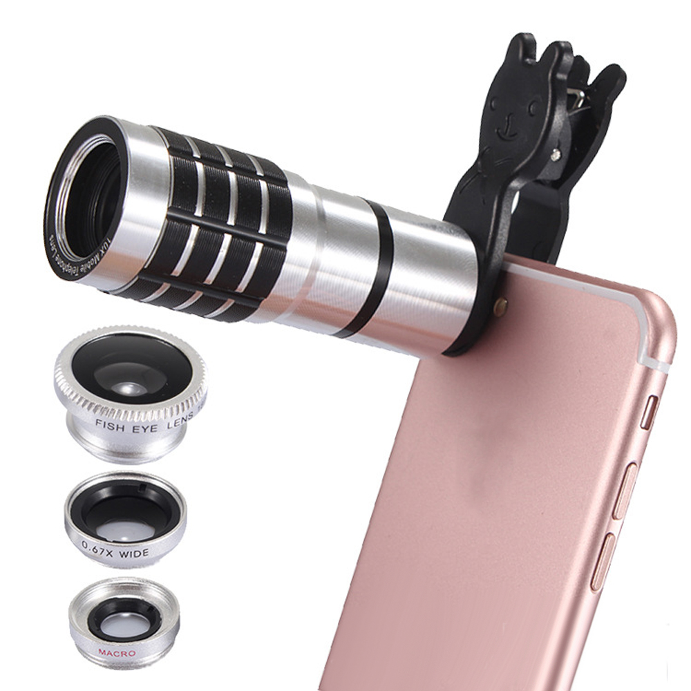 JRGK Universal 10X Camera Telephoto Lens mobile Phone Telescope with Rabbit Clip 4 in 1 Wide Angle Macro Mobile Phone Len 4
