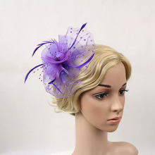 2016 Black Mesh Feather Hair Clip Bride Wedding Fascinator Haripin Handmade Purple Red Red Navy Women Dotted Lace Headwear(China)