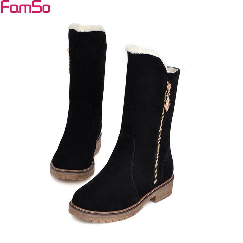FAMSO Size34-43 2017 Sexy Women Boots Half Black red motorcycle Boots 4Colors Designer Flats Winter Womens Snow Boots ZWB2483<br>