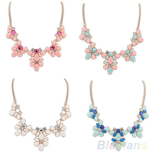 Buy 4 Colors New Fashion Women's Crystal Flower Statement Bib Pendant Chain Choker Necklace necklaces & pendants 01FH for $1.34 in AliExpress store
