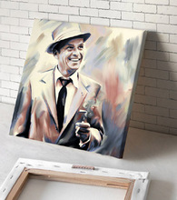 FRANK SINATRA portrait  oil painting--2015 HOME LIVING ROOM TOP art --hand painted WORK--- 24 inches-free shipping cost