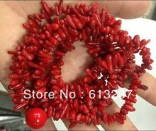 hot free Shipping new Fashion Style diy natural 4x10mm Red Branch coral Necklace 48 inch MY5311