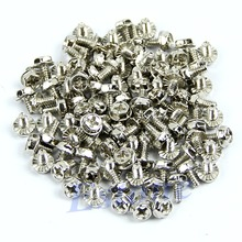 100pcs Toothed Hex 6/32 Computer PC Case Hard Drive Motherboard Mounting Screws