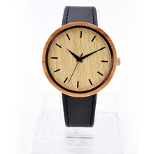 Fashion Wood Watch Men Quartz-watch Simulation Wooden Leather Strap Wristwatch Male Wood Clock Casual Hours Relogio Masculino