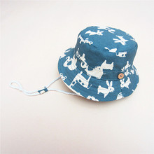 Baby Cowboy Hat Animal Printing Kids Blue Jean Sun Helmet Adjustable Boy Summer Caps With Chin Strap Kids Bucket Hat 0-7Y(China)