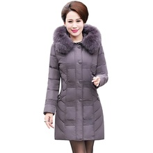 2017 Winter Middle-aged Mother White Duck Down Down Jacket Coat Medium Long Warm High Quality Down Jacke Plus Size 6XL BH060