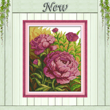 Oil painting peony flowers painting counted printed on canvas DMC 14CT 11CT Chinese Cross Stitch Needlework Sets Embroidery kits(China)