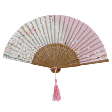21cm Cherry Blossoms Japanese Silky Bamboo Decorative Folding Hand Fan Gifts Wedding Party Favors Decorations Wedding Supplies