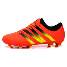 2016 Mens Football Shoes Soccer Boots Black/Orange/Green Sport Shoes Men Football Cleats Long Spikes Outdoor Soccer Shoes Men
