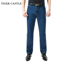 TIGER CASTLE Men Washed Denim Jeans Casual Straight Denim Overalls for Men Brand Male Classic Jeans Pants Men Business Trousers(China)