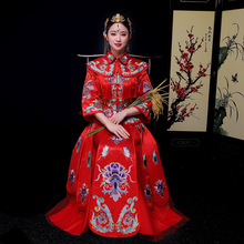 Oriental Asian Bride beauty Chinese traditional Wedding Dress Women's Red Floral Long Sleeve Chinese Cheongsam Robe Dress S-XXL(China)