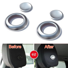 4pcs Front Seat Head Rest Headrest Adjust Button Cover Trim Sequined Decoration Fits For Land Rover Discovery Sport 2015 2016