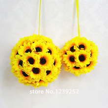 "New 5Pcs/Lot 5.5""( 14 cm ) Silk Sunflower Artificial Flower Ball Kissing Hanger Ball For Wedding Party DIY Bridal Flower Decor&2"