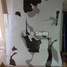 Jumbo Elite White Camo Vinyl Wrapping Large Snow Urban Camo Vinyl Film Roll Bubble Free For SUV TRUCK Jeep 30M/Roll(China)