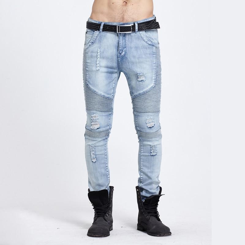Jeans Men Winter Ripped Distressed Man Biker Jeans Stretch Denim Patchwork Pencils Slim Skinny Fashion Designer Oversized PantsОдежда и ак�е��уары<br><br><br>Aliexpress