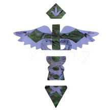 Yibuy Inlay Sticker Fretmarkers Green Cross Angel Pattern for Guitar Bass
