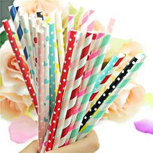 Free 100pcs/Lot wedding decoration Or Birthday Party Decorations Kids Striped Chevron And Polka Dot Drinking Paper Straws