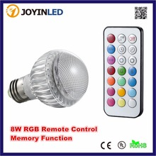 Brightness 8W 4W RGB LED Bulb Light Stage Lamp Remote Control Led Lights for Home E27 MR16 GU10 Memory Function Colour Changing(China)