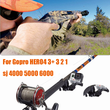 Go pro Hero 4 3+ 3 Accessories sj6000 sj5000 sj4000 Universal support mount adapter for Gun fishing rod bow sj 4000 6000 camera