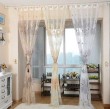 Endless design printed organza custom made kitchen tulle for windows
