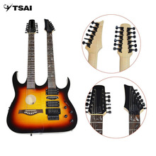 TSAI Electric Guitar Double Necks Basswood Body Rose Wood Fingerboard Professional Electric Bass For Guitar Lovers ship from USA(China)