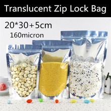 Wholesale 50pcs Large 20x30+5cm 160micron Stand Up Clear + Aluminizing Foil Zip Lock Bag Mylar Snack Packaging Bag