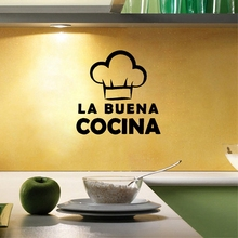 "Spanish Language ""La Buena Cocina ""Wall Decals Cute Cooking Hat Vinyl Wall Sticker For Spain Home Kitchen Decoration(China)"