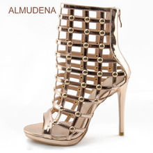 ALMUDENA Women Sexy Cage Middle Boots Peep Toe Cut-out Motorcycle Sandal Boots Mid-calf Gold Studded Stiletto Heel Sandals Boots(China)