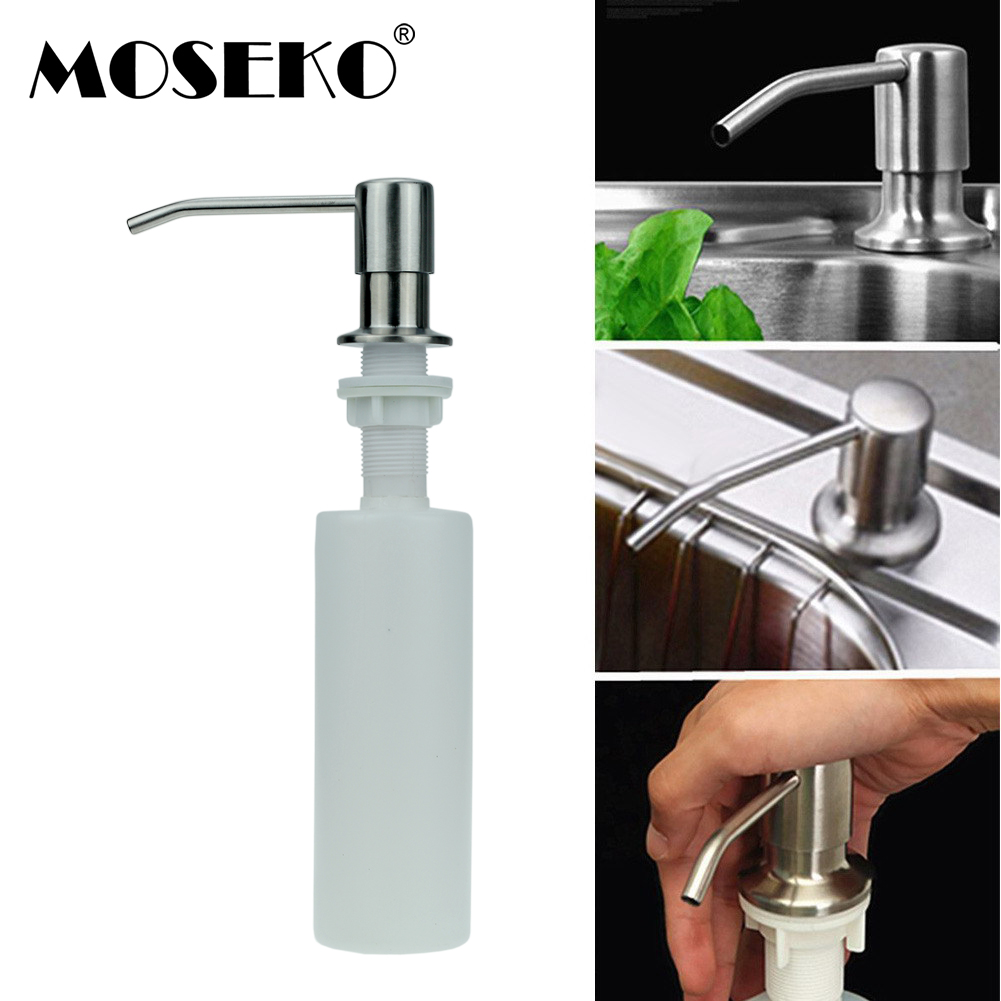 Liquid Seifenspender Bad Hardware Moseko Edelstahl Kopf Küche Seife Dispenser Pumpe Bad Waschmittel Spender Für Flüssige Seife Spender Lotion Werkzeuge