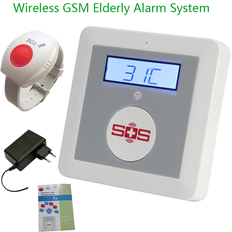 IOS/Android APP SOS Call Alarm Wireless GSM Alarm System Home Security Elderly Helper Temperature With Emergency Panic Button K3<br>